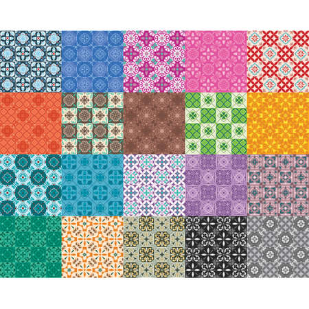 collection of moroccan mosaic seamless patterns