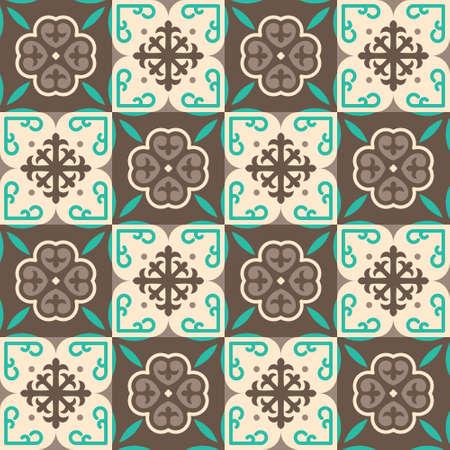 brown moroccan mosaic seamless pattern Illustration