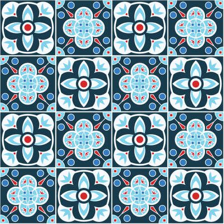 blue moroccan mosaic seamless pattern