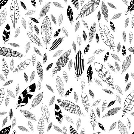 black and white feathers seamless pattern Illustration