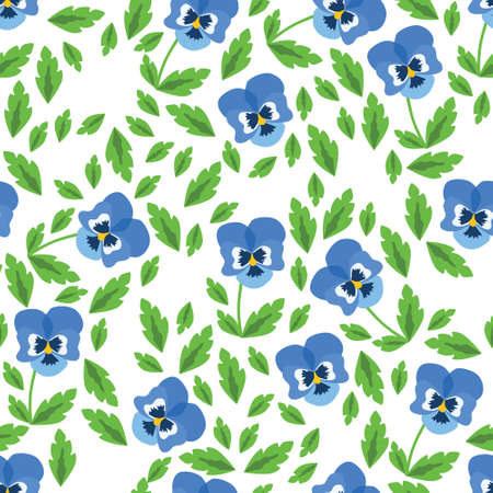 pansy seamless pattern with white background