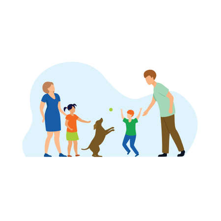 happy family with dog outside