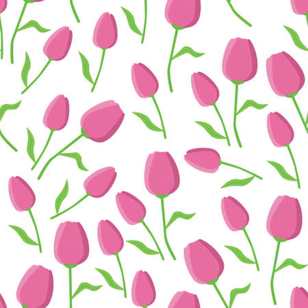 tulip seamless pattern with white background Illustration