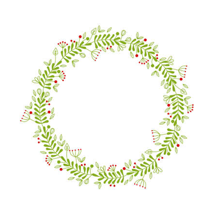 wreath with flowers and leaves Illustration