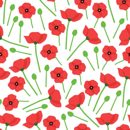 poppy seamless pattern with white background