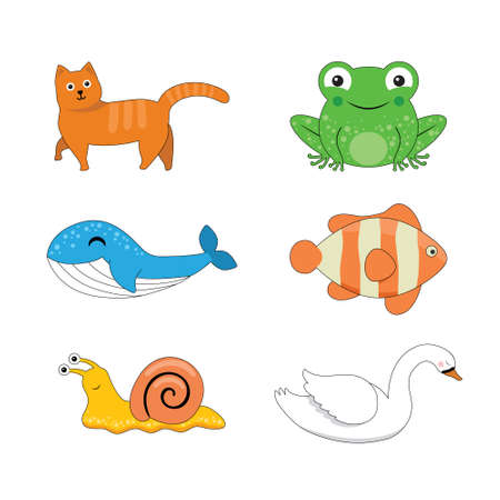 cat, frog, whale, fish, snail and swan