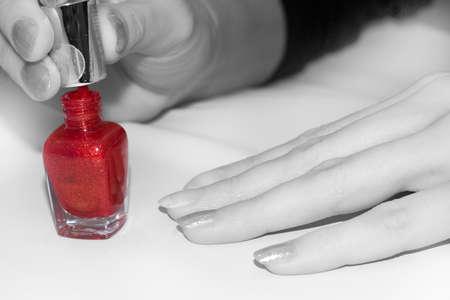 Original image Manicure process. White&Black tones with color Nail polish Stock Photo - 6629419