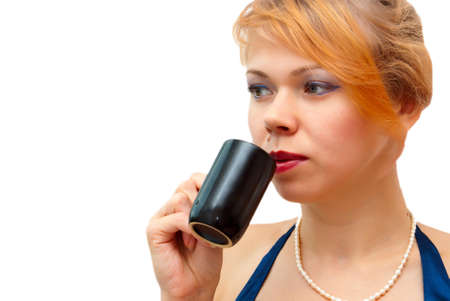 Girl drinks coffee on a white background
