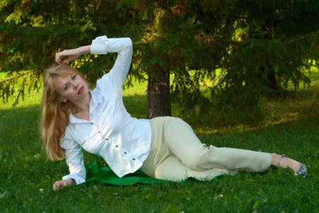 Young beautiful women laying enjoying the nature