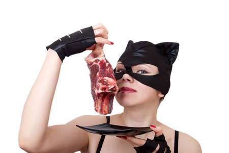 woman-cat Smells the big piece of meat. series of woman-cat