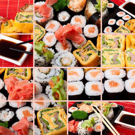 Collage of several photos japanese sushi. All used photos are in my portfolio Stock Photo