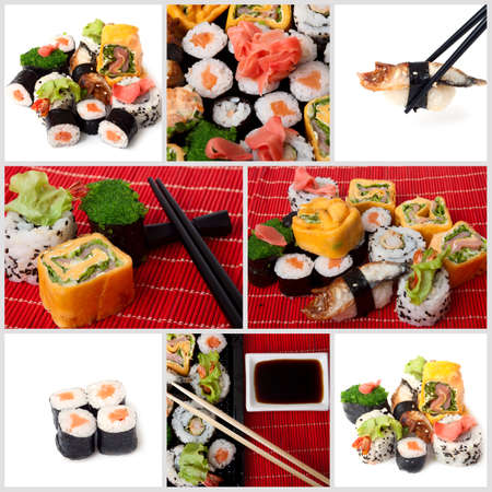 Collage of several photos japanese sushi. All used photos are in my portfolio photo