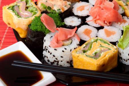 closeup set of Japanese sushi  Stock Photo