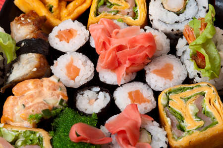 Closeup Japanese food. Traditional sushi and rolls. Series japanese food
