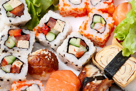Traditional Japanese food Sushi. Closeup japanese sushi Stock Photo