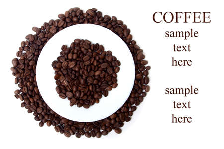 coffee beans background with text elements