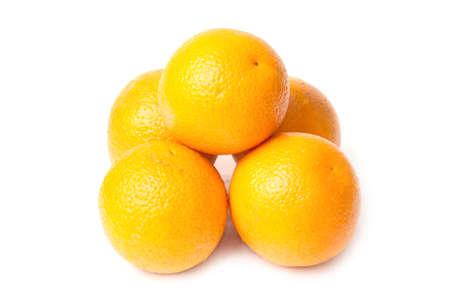 five orange isolated on white background Stock Photo