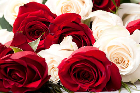 bouquet of White and red roses. Closeup