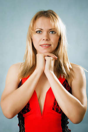 Portrait of smiling nice blonde woman