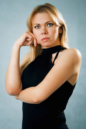 Portrait of serious nice blonde woman