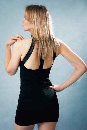 elegant  woman in black dress Stock Photo
