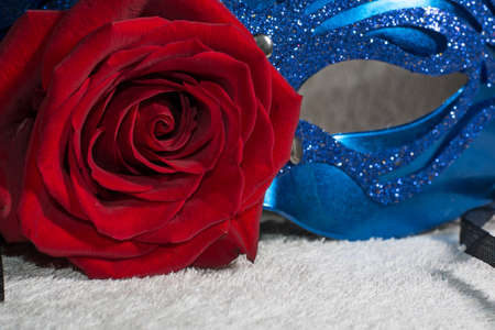carnaval: Blue carnaval mask with red rose