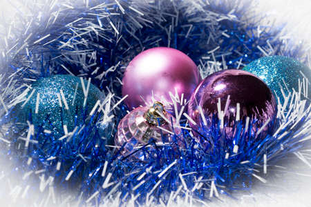 the tinsel: Happy New Year blue tinsel and balls