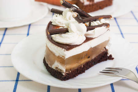 tort: a piece of cake: cake, apple jelly, whipped cream and chocolate icing. on a white plate Stock Photo