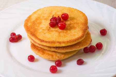 fritters: Delicious Fritters whith red berry on white plate