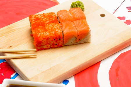 Water Fud Art. Japanese Sushi On A White Plate On The Tablecloth.. Stock  Photo, Picture And Royalty Free Image. Image 52174960.