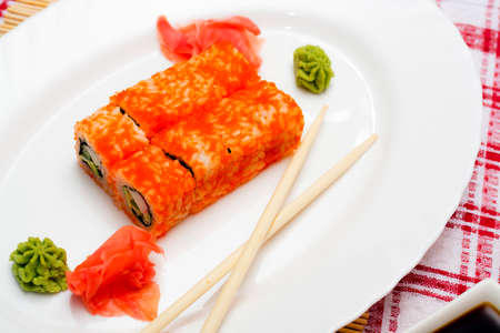 diverse set of sushi on white plate. Traditional Japanese food Stock Photo