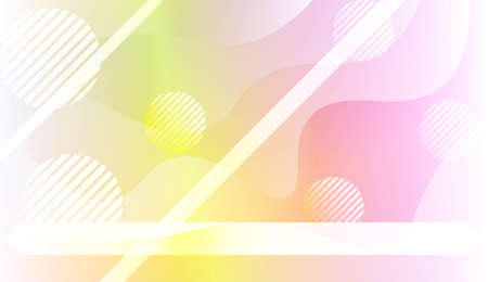Template Background With Wave Geometric Shape, Lines, Circle. Design For Cover Page, Poster, Banner Of Websites. Vector Illustration with Color Gradient