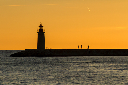 a light house in the blue hour