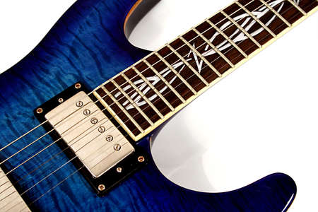 Extreme close up of electric blue guitar. Stock Photo