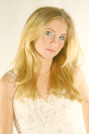 Beautiful blonde teenager high key style