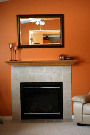 Contemporary fireplace and mantle Banco de Imagens - 775108