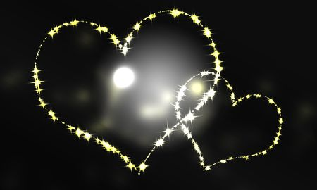 Heart big and small pair black background of light that begins to overflow   photo