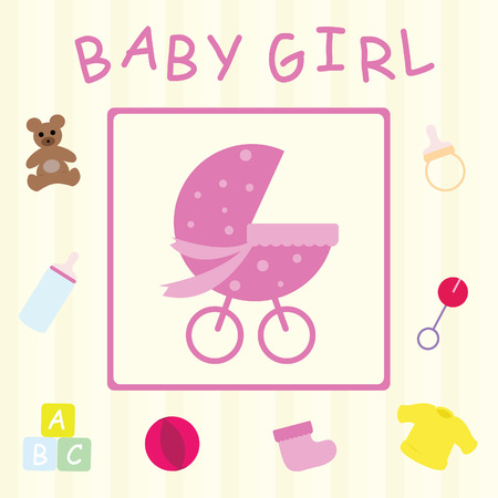 stuff toys: Baby Girl Congratulations Card