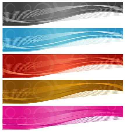 dark brown background: Web Banners Illustration
