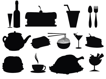 noodles: food and beverage silhouettes  Illustration