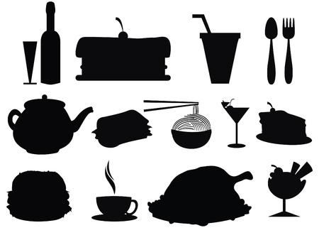 porcion de torta: siluetas de alimentos y bebidas