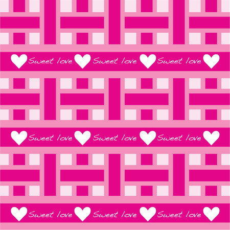 seamless pattern of pink with sweet love wording  Vector