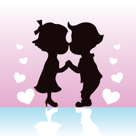 Silhouette couples kissing and holding hands  Illustration