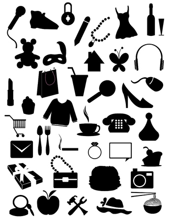 Silhouettes items - shopping, web, accessories objects  Stock Vector - 6947304