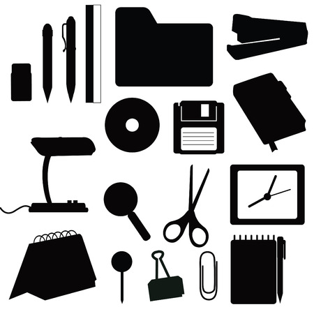 Silhouettes office items Vector