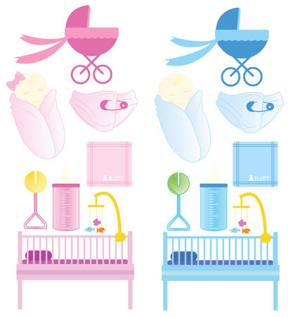 Baby items for newborn baby Stock Vector - 6947395