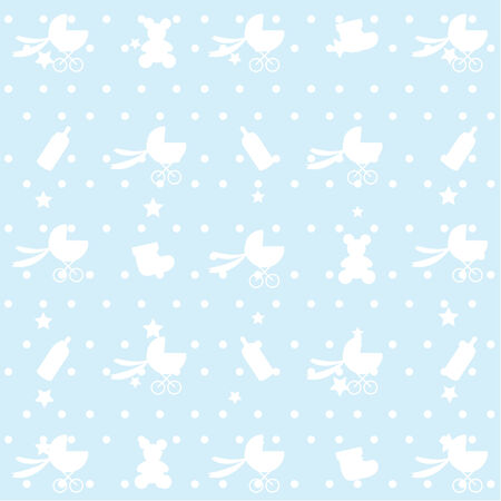 seamless blue baby pattern Stock Vector - 6947388