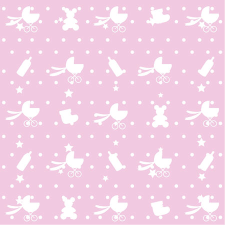 seamless pink baby pattern Stock Vector - 6947389