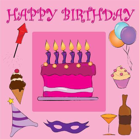 Pink happy birthday  Vector