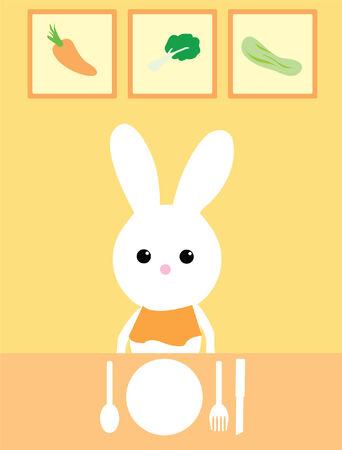 dining bunny  Vector